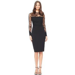 David Meister Embroidered Illusion Jersey Sheath Cocktail Dress