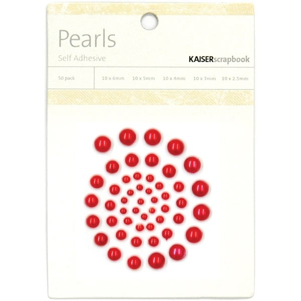 Self-Adhesive Pearls 50/Pkg-Red - Red