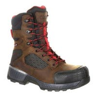 "Rocky Men's Treadflex Composite Toe WP 8"" Work Boot RKK0240"" Dark Brown Full Grain Leather/Synthetic"