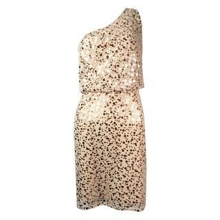 JS Boutique Women's Sequined Blouson One Shoulder Dress - Beige