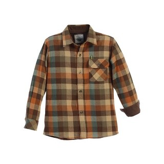 Gioberti Little Boys Orange Khaki Corduroy Contrast Flannel Plaid Shirt 4-7