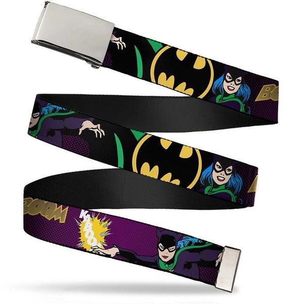 Blank Chrome Buckle Catwoman W Bat Logo Webbing Web Belt