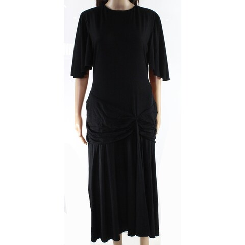 Marycrafts Black Womens Size 16 Flutter Sleeve Ruched Maxi Dress