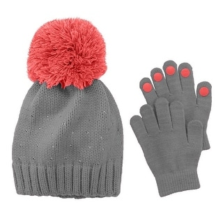 Girls Accessories Winter Set Rhinestone Pom Beanie Hat Gloves Grey/Orange OS - gray - One Size Fits most