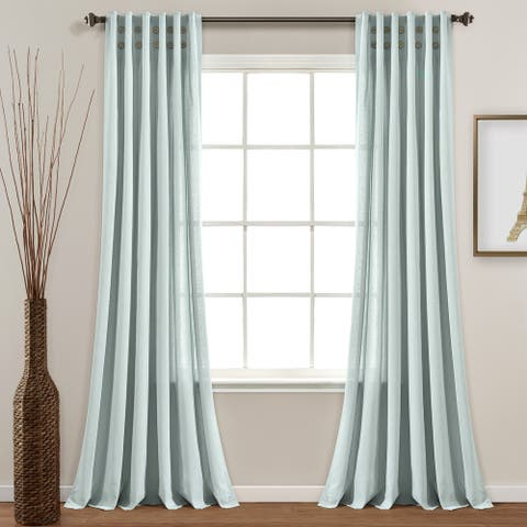 "Lush Decor Linen Button Pinched Pleat Window Curtain Single Panel - 84"" x 40"""