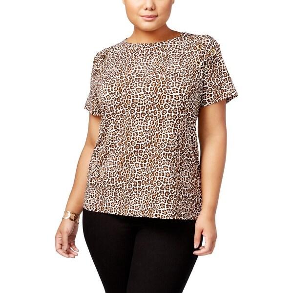 bc23ff337e0f Shop MICHAEL Michael Kors Womens Plus Dress Top Leopard Print Lace ...