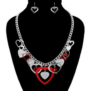 Heart Charms Necklace Set for Valentine's Day - Red