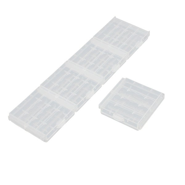 5Pcs Transparent Storage Case Plastic Battery Holder Organizer for AA Batteries