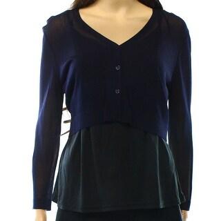 Lauren Ralph Lauren NEW Blue Women's Size XS Cropped Cardigan Sweater