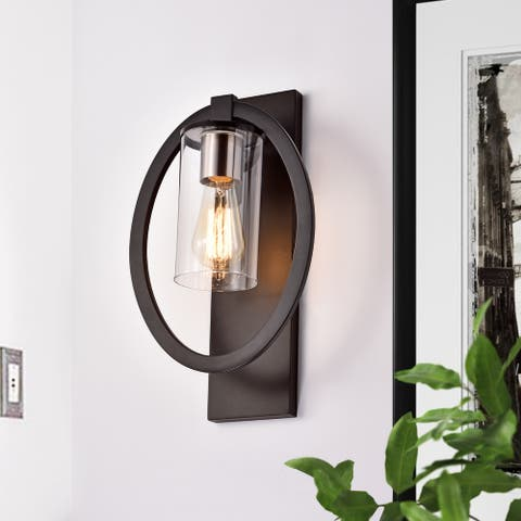 """Black 1-light Wall Sconce with Clear Glass Shade - W9-1/2"""" x E6"""" x H15-3/4"""""""