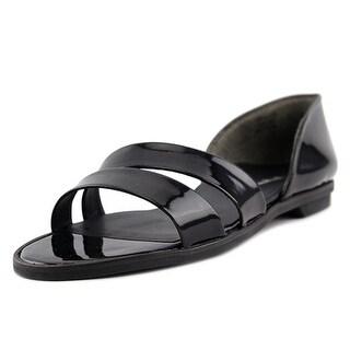 Paul Green Wynn Women Open Toe Patent Leather Black Slides Sandal