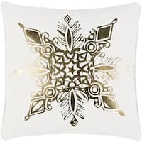 "18"" Snow White and Rich Gold Decorative Geometric Snowflake Holiday Throw Pillow"