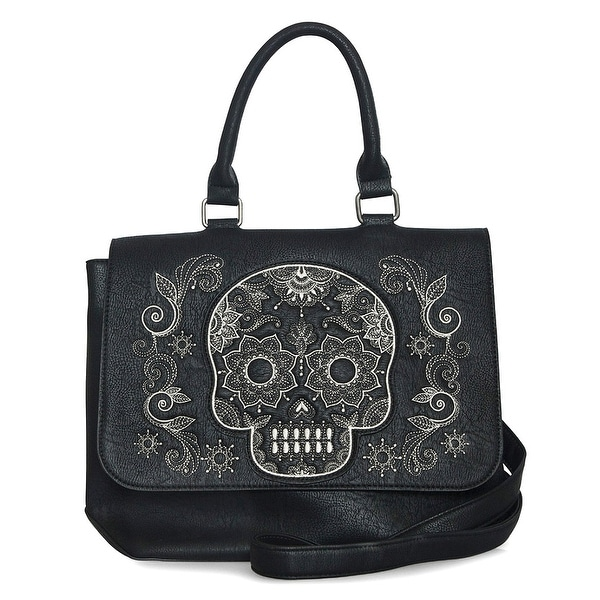Loungefly Faux Leather Embroidered Sugar Skull Messenger Bag - One Size Fits most