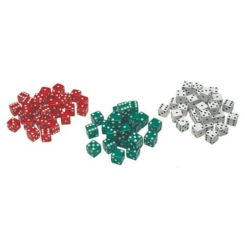 (12 Pk) Red Green & White Dot Dice 12 Per Pack