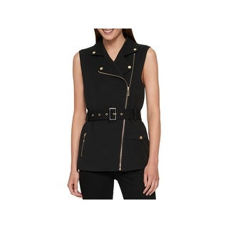 Tommy Hilfiger Womens Vest Spread Collar Belted