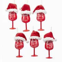 Club Pack of 12 White and Red Glass Santa Hat Wine Ornaments 5.12""