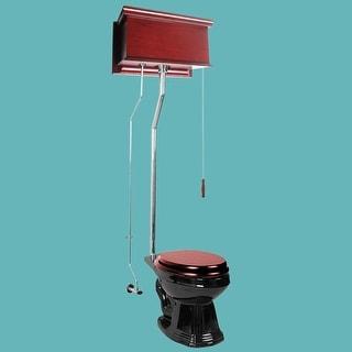 Cherry High Tank Pull Chain Toilet Black Elongated Chrome