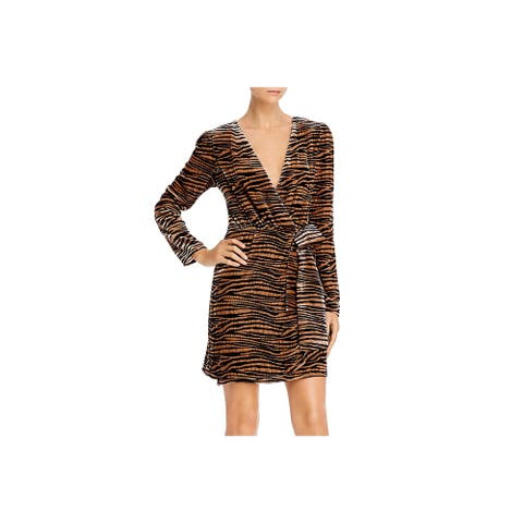 WAYF Womens Mylene Wrap Dress Velvet Animal Print - Black/Camel Tiger
