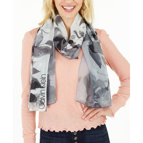 Calvin Klein Women's Ombre Floral Watercolor Scarf, Gray, One Size - One Size