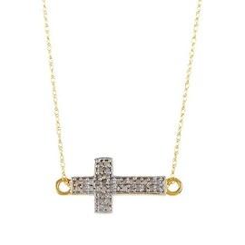 14k Gold White Diamond Cross Shape Pendant with Chain