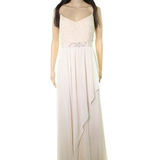 Adrianna Papell Beige Womens Size 8 Embellished Lace Gown Dress