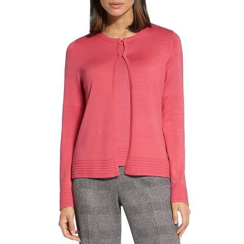 Basler Womens Plus Cardigan Sweater Knit Button-Down - Coral