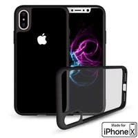 iPhone X Crystal Clear Phone Case Hybrid Shockproof Soft TPU Bumper Cover (Black)