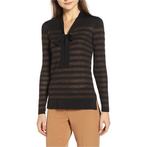 Anne Klein Womens Metallic Stripe Pullover Sweater