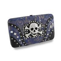 Textured Paisley Wallet w/Metal Rhinestone Encrusted Skull and Crossbones