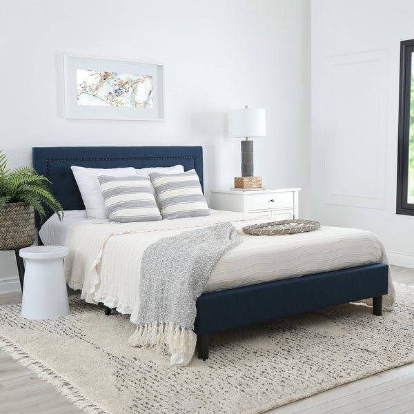 Abbyson Karlyn Navy Blue Tufted Upholstered Bed. Opens flyout.