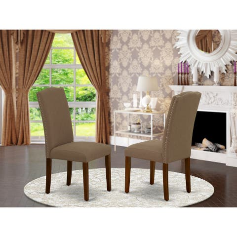 East West Furniture Encinal Dark Coffee Parson Chairs (Set of 2)