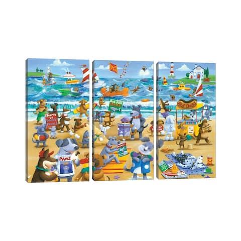 "iCanvas ""Dogs Beach"" by Peter Adderley 3-Piece Canvas Wall Art Set"