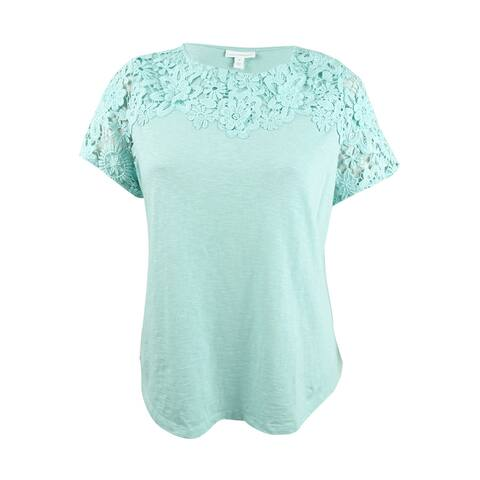Charter Club Women's Plus Size Cotton Crochet-Detailed T-Shirt (1X, Mint Aqua) - Mint Aqua - 1X