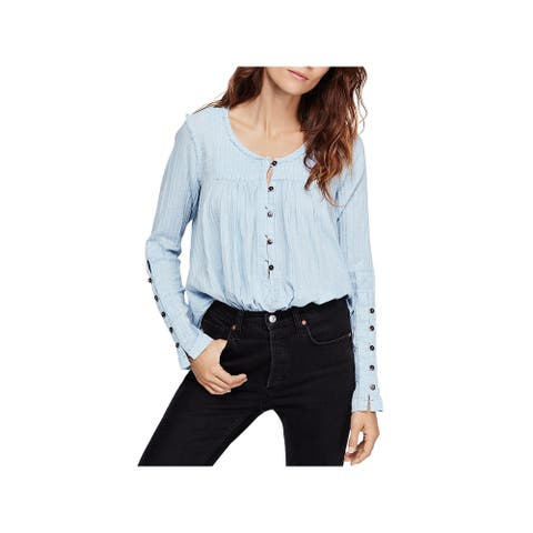 We The Free Womens Sand Dune Blouse Henley Chambray