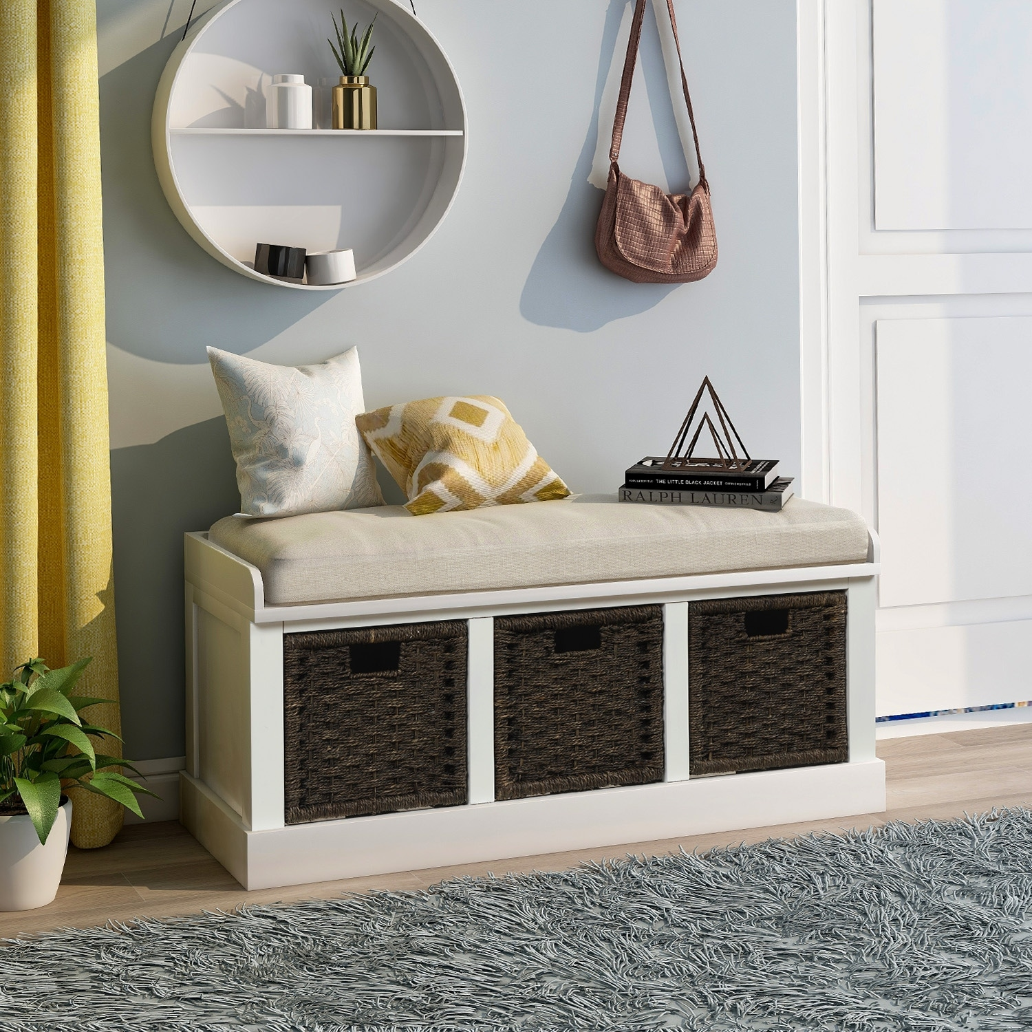 White Entryway Bench Storage With Basket And Removable Cushion On Sale Overstock 30992747