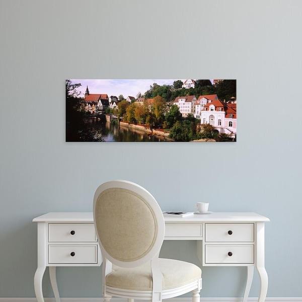 Easy Art Prints Panoramic Images's 'Buildings along a river, Neckar River, Tuebingen, Baden