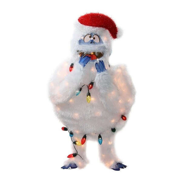 """32"""" Pre-Lit Faux Fur Bumble with Light Strand Christmas Outdoor Decoration - Clear Lights - WHITE"""