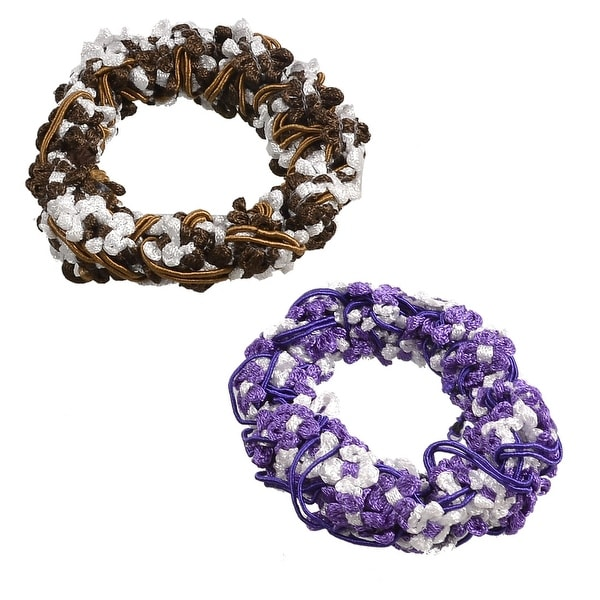 Shop Unique Bargains 2 Pcs Stretchy Fabric Hair Ties Bands Ponytail Braid  Holder Elastics Purple Brown - On Sale - Free Shipping On Orders Over  45  ... 8e854f7c59d