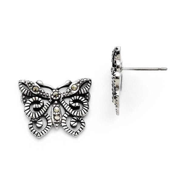 Chisel Stainless Steel Butterfly Marcasite Post Earrings