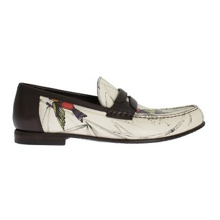 Dolce & Gabbana Beige Brown Leather Bird Print Loafers - eu44-us11