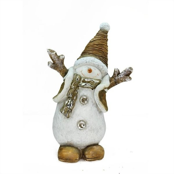 "19.5"" Whimsical Ceramic Jolly Christmas Snowman Decorative Tabletop Figure - WHITE"