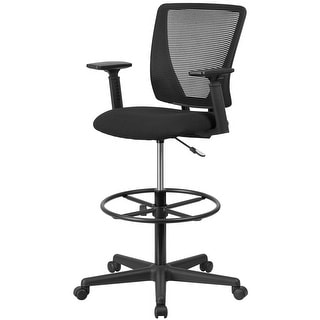 """Delacora FF-GO-2100-A  26.25"""" Wide Fabric Drafting Chair with Adjustable Arms - Black"""