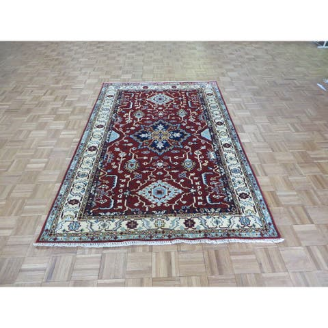 """Hand Knotted Red Kazak with Wool Oriental Rug (5' x 7'8"""") - 5' x 7'8"""""""