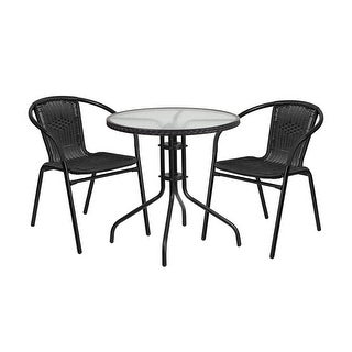 Offex 28'' Round Glass Metal Table with Black Rattan Edging and 2 Black Rattan Stack Chairs