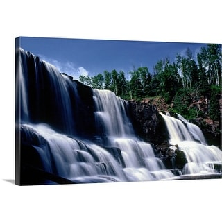 """Low angle view of three waterfalls"" Canvas Wall Art"