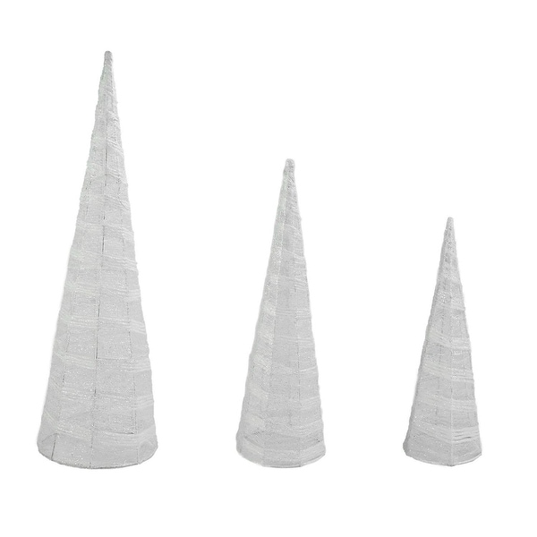 """Set of 3 White and Silver Glittered Cone Tree Christmas Table Top Decoration 23.5"""""""