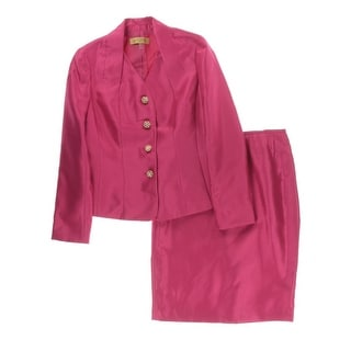 Kasper Womens Baroque Embellished Pleated Skirt Suit