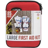Lifeline Large Hard-Shell Foam Case First Aid Kit - 85 Pieces - Red - l