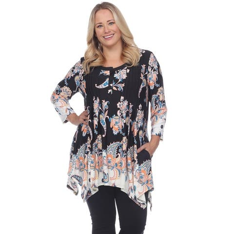 White Mark Woman's Plus Size Paisley Scoop Neck Tunic Top with Pockets
