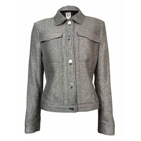 Anne Klein Women's Chest Pocket Woven Jacket - Black/White Multi - 2